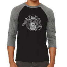 Load image into Gallery viewer, LA Pop Art Men's Raglan Baseball Word Art T-shirt - Chimpanzee