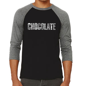 LA Pop Art Men's Raglan Baseball Word Art T-shirt - Different foods made with chocolate
