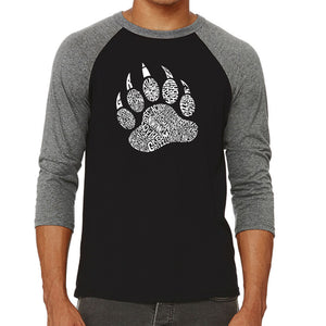 LA Pop Art Men's Raglan Baseball Word Art T-shirt - Types of Bears