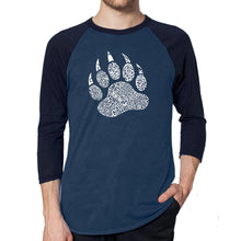 Load image into Gallery viewer, LA Pop Art Men's Raglan Baseball Word Art T-shirt - Types of Bears