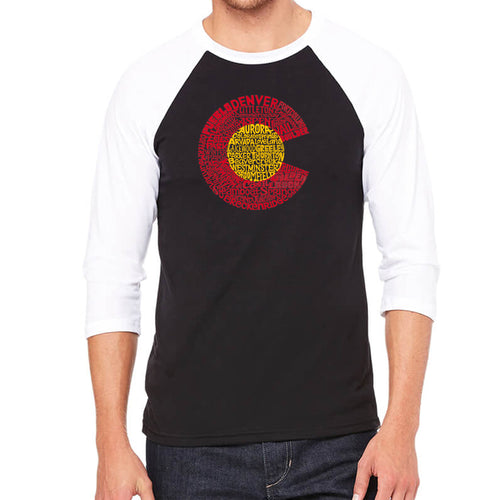 LA Pop Art Men's Raglan Baseball Word Art T-shirt - Colorado