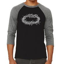 Load image into Gallery viewer, LA Pop Art Men's Raglan Baseball Word Art T-shirt - CROWN OF THORNS
