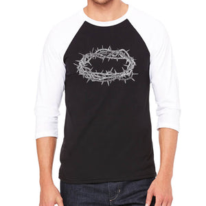 LA Pop Art Men's Raglan Baseball Word Art T-shirt - CROWN OF THORNS