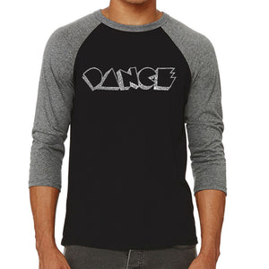 LA Pop Art Men's Raglan Baseball Word Art T-shirt - DIFFERENT STYLES OF DANCE
