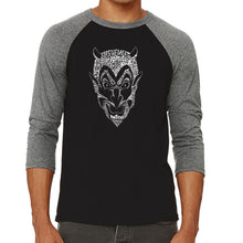 Load image into Gallery viewer, LA Pop Art Men's Raglan Baseball Word Art T-shirt - THE DEVIL'S NAMES