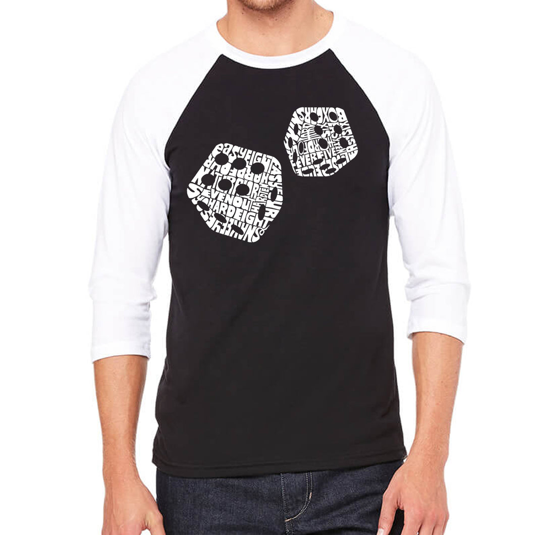 LA Pop Art Men's Raglan Baseball Word Art T-shirt - DIFFERENT ROLLS THROWN IN THE GAME OF CRAPS