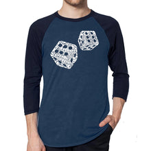 Load image into Gallery viewer, LA Pop Art Men's Raglan Baseball Word Art T-shirt - DIFFERENT ROLLS THROWN IN THE GAME OF CRAPS