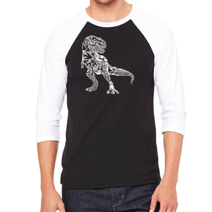 LA Pop Art Men's Raglan Baseball Word Art T-shirt - Dino Pics