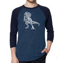Load image into Gallery viewer, LA Pop Art Men's Raglan Baseball Word Art T-shirt - Dino Pics