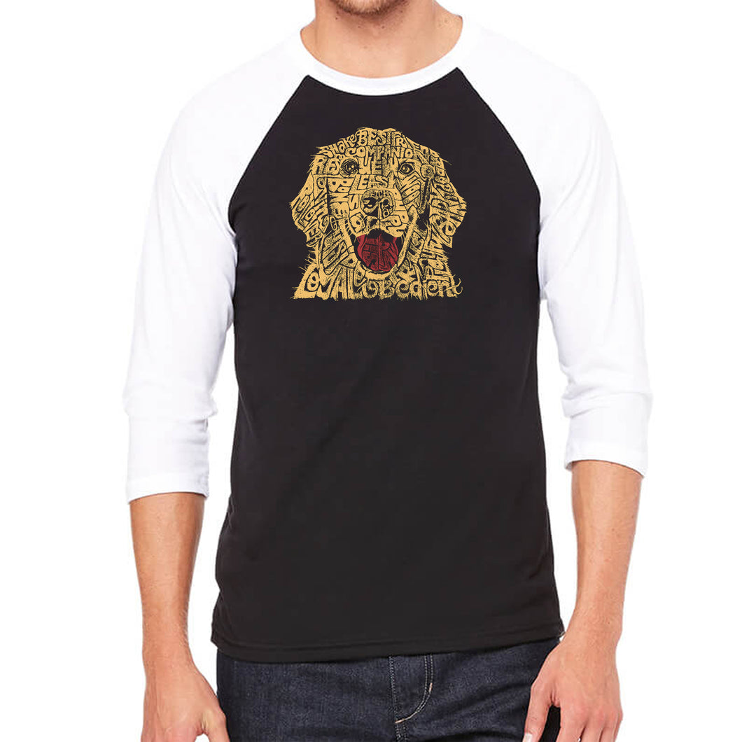 LA Pop Art Men's Raglan Baseball Word Art T-shirt - Dog