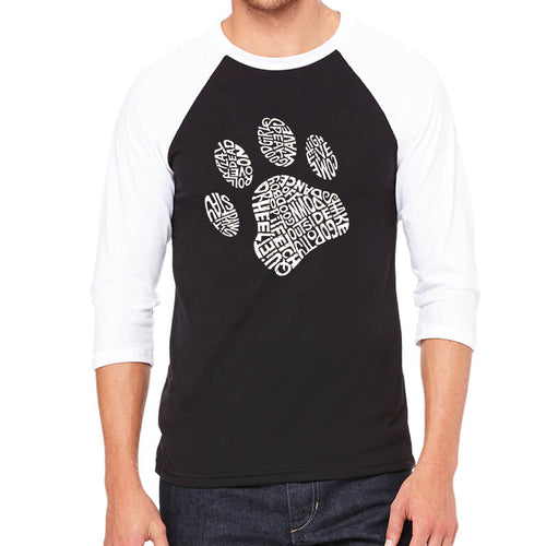 LA Pop Art Men's Raglan Baseball Word Art T-shirt - Dog Paw