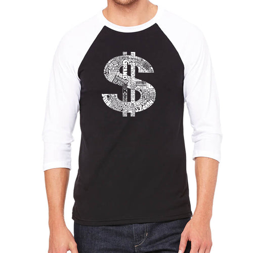 LA Pop Art Men's Raglan Baseball Word Art T-shirt - Dollar Sign