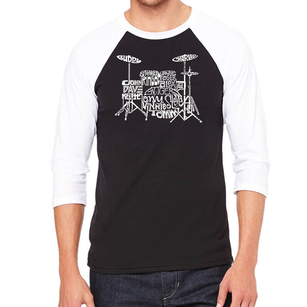 LA Pop Art Men's Raglan Baseball Word Art T-shirt - Drums