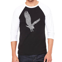 Load image into Gallery viewer, LA Pop Art Men's Raglan Baseball Word Art T-shirt - Eagle