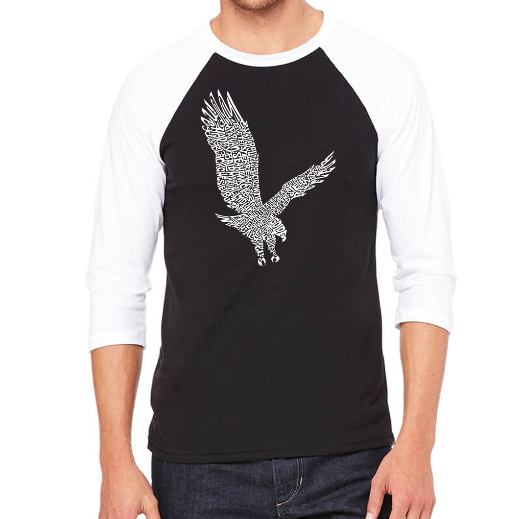 LA Pop Art Men's Raglan Baseball Word Art T-shirt - Eagle