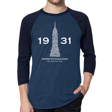 Load image into Gallery viewer, LA Pop Art Men's Raglan Baseball Word Art T-shirt - Empire State Building