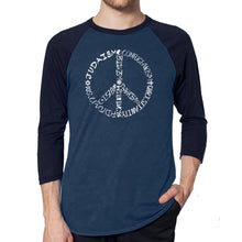 Load image into Gallery viewer, LA Pop Art Men's Raglan Baseball Word Art T-shirt - Different Faiths peace sign