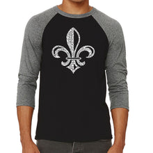 Load image into Gallery viewer, LA Pop Art Men's Raglan Baseball Word Art T-shirt - LYRICS TO WHEN THE SAINTS GO MARCHING IN