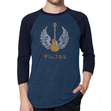 Load image into Gallery viewer, LA Pop Art Men's Raglan Baseball Word Art T-shirt - LYRICS TO FREE BIRD