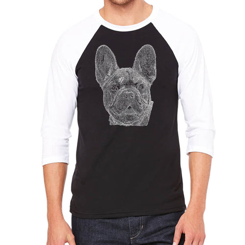 LA Pop Art Men's Raglan Baseball Word Art T-shirt - French Bulldog