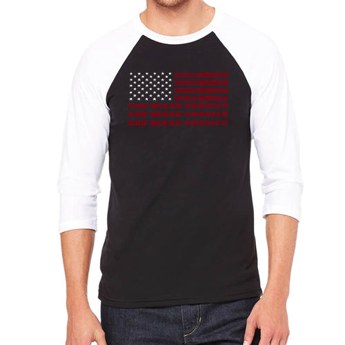 LA Pop Art Men's Raglan Baseball Word Art T-shirt - God Bless America