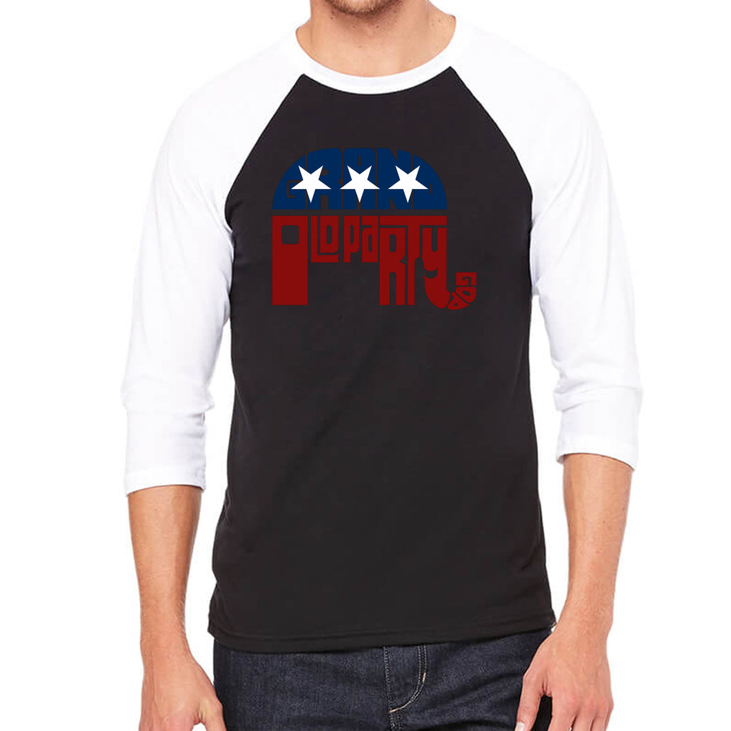 LA Pop Art Men's Raglan Baseball Word Art T-shirt - REPUBLICAN - GRAND OLD PARTY