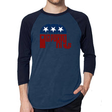 Load image into Gallery viewer, LA Pop Art Men's Raglan Baseball Word Art T-shirt - REPUBLICAN - GRAND OLD PARTY