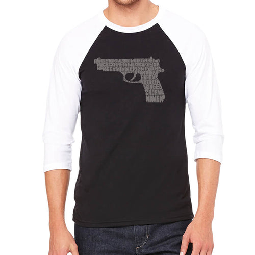 LA Pop Art Men's Raglan Baseball Word Art T-shirt - RIGHT TO BEAR ARMS