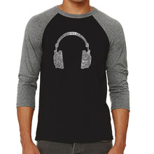 Load image into Gallery viewer, LA Pop Art Men's Raglan Baseball Word Art T-shirt - 63 DIFFERENT GENRES OF MUSIC