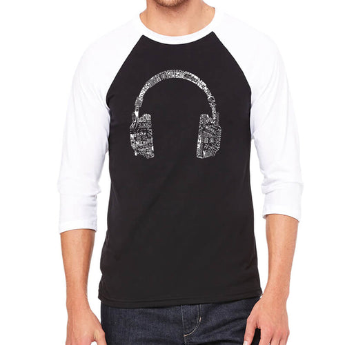 LA Pop Art Men's Raglan Baseball Word Art T-shirt - HEADPHONES - LANGUAGES