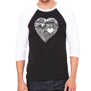 LA Pop Art Men's Raglan Baseball Word Art T-shirt - LOVE IN 44 DIFFERENT LANGUAGES