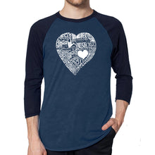 Load image into Gallery viewer, LA Pop Art Men's Raglan Baseball Word Art T-shirt - LOVE IN 44 DIFFERENT LANGUAGES