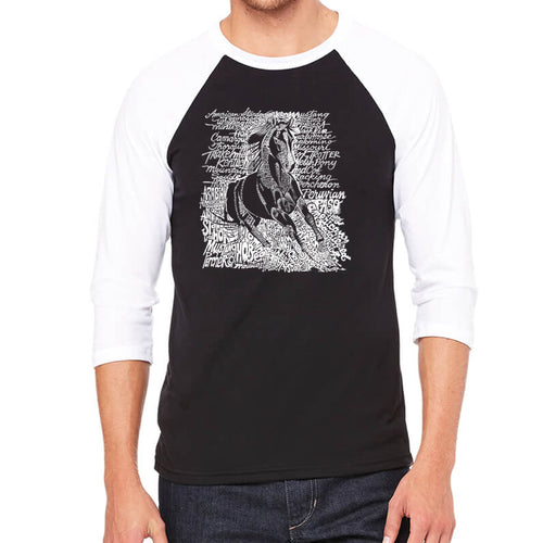 LA Pop Art Men's Raglan Baseball Word Art T-shirt - POPULAR HORSE BREEDS