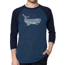 Load image into Gallery viewer, LA Pop Art Men's Raglan Baseball Word Art T-shirt - Humpback Whale
