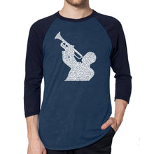 Load image into Gallery viewer, LA Pop Art Men's Raglan Baseball Word Art T-shirt - ALL TIME JAZZ SONGS