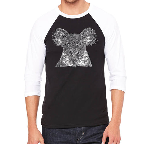 LA Pop Art Men's Raglan Baseball Word Art T-shirt - Koala