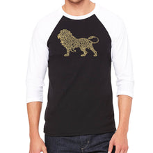 Load image into Gallery viewer, LA Pop Art Men's Raglan Baseball Word Art T-shirt - Lion