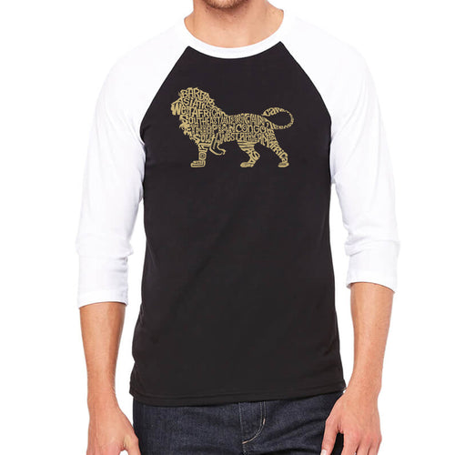 LA Pop Art Men's Raglan Baseball Word Art T-shirt - Lion