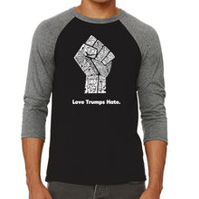Load image into Gallery viewer, LA Pop Art Men's Raglan Baseball Word Art T-shirt - Love Trumps Hate Fist