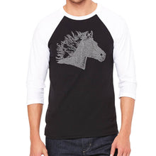 Load image into Gallery viewer, LA Pop Art Men's Raglan Baseball Word Art T-shirt - Horse Mane