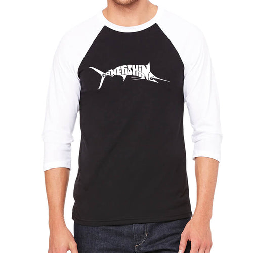 LA Pop Art Men's Raglan Baseball Word Art T-shirt - Marlin - Gone Fishing
