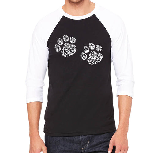 LA Pop Art Men's Raglan Baseball Word Art T-shirt - Meow Cat Prints