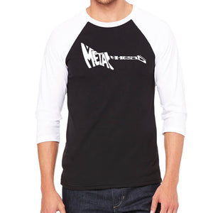 LA Pop Art Men's Raglan Baseball Word Art T-shirt - Metal Head
