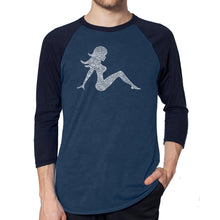 Load image into Gallery viewer, LA Pop Art Men's Raglan Baseball Word Art T-shirt - MUDFLAP GIRL