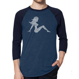 LA Pop Art Men's Raglan Baseball Word Art T-shirt - MUDFLAP GIRL