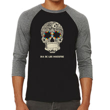 Load image into Gallery viewer, LA Pop Art Men's Raglan Baseball Word Art T-shirt - Dia De Los Muertos
