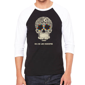 LA Pop Art Men's Raglan Baseball Word Art T-shirt - Dia De Los Muertos