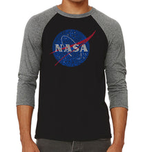 Load image into Gallery viewer, LA Pop Art Men's Raglan Baseball Word Art T-shirt - NASA's Most Notable Missions