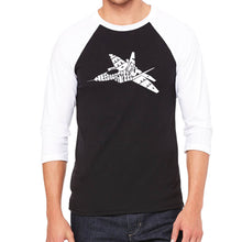 Load image into Gallery viewer, LA Pop Art Men's Raglan Baseball Word Art T-shirt - FIGHTER JET - NEED FOR SPEED