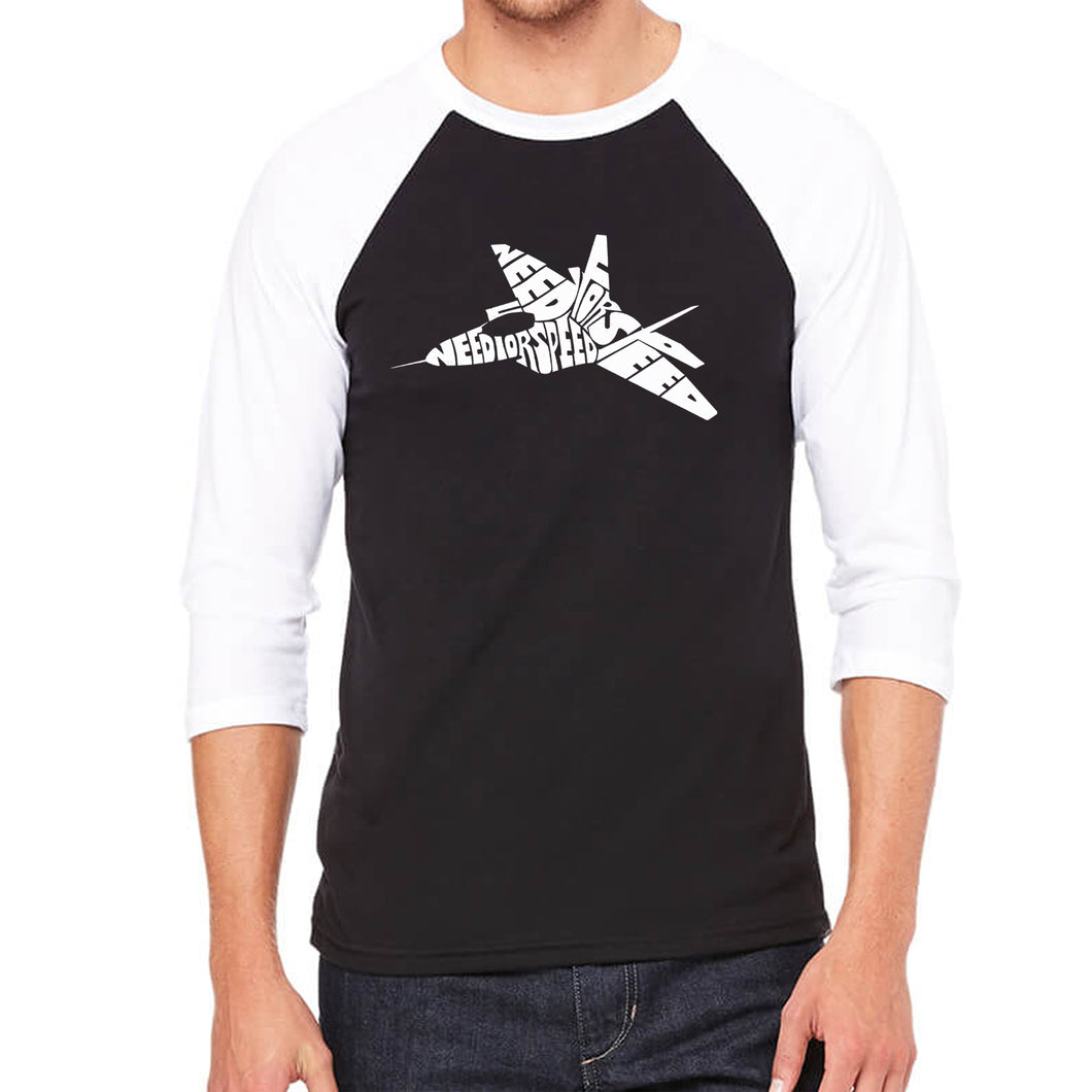 LA Pop Art Men's Raglan Baseball Word Art T-shirt - FIGHTER JET - NEED FOR SPEED